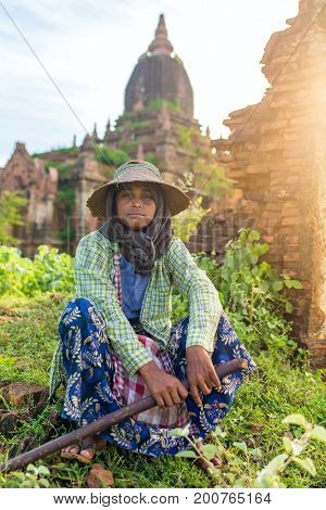 Bagan, Myanmar - Octobert 12, 2016: Portrait of an unidentified burmese farmer in Bagan, Myanmar