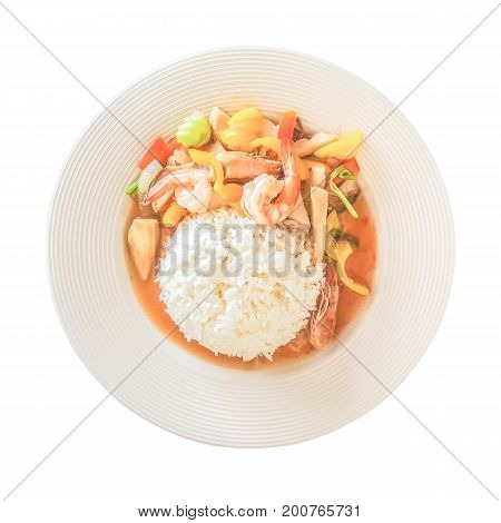 Rice with fried mushroom Japan shrimp peppers and tomatoes. Health food menu