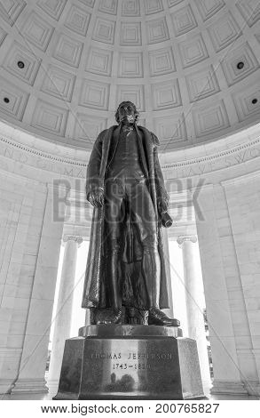 Washington DC, United States of America - August 5, 2017: Thomas Jefferson's Memorial, Bronze Statue of the Past President
