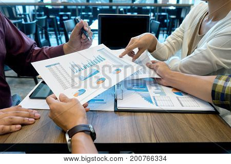 Business Team Man And Woman Work With Laptop On Wood