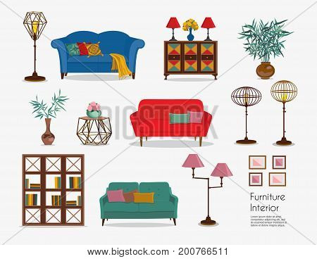 Interior. Sofa sets and home accessories. Furniture design. Sofas with pillows, lamps, pictures, chest of drawers, tea table, floor lamps, vases, cupboard