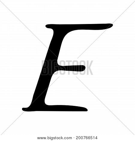 Capital letter E painted by brush isolated on white background