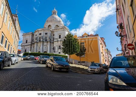 Panteao Nacional Lisbon Portugal Monument Religious Cathedral On Beautiful Sunny Day Summer 2017