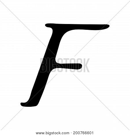 Capital letter F painted by brush isolated on white background