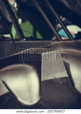 Tires treads changing automotive concept. Detailed closeup of rubber tire wheel surface.