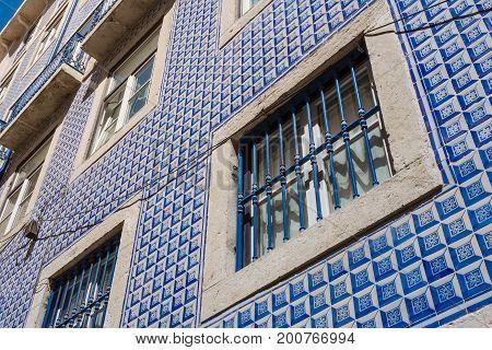 Portuguese Traditional Tiles Exterior Detail Architecture Famous Blue Window Trim Decoration