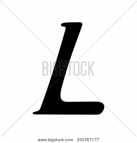 Capital letter L painted by brush isolated on white background