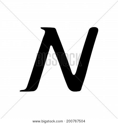 Capital letter N painted by brush isolated on white background
