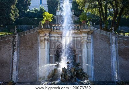 Tivoli , Italy - March 12, 2014: Villa D'Este the Dragoon fountain