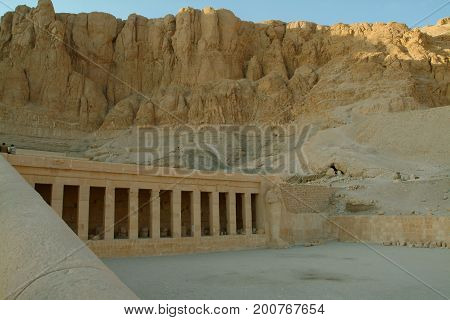 EGYPT, January 15, 2005: Columns Of The Temple  Of Queen Hatshepsut  without people, Thebes, UNESCO World Heritage Site, Egypt, North Africa, Africa