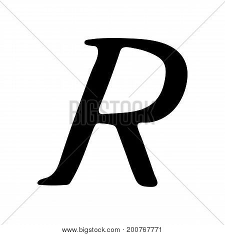 Capital letter R painted by brush isolated on white background