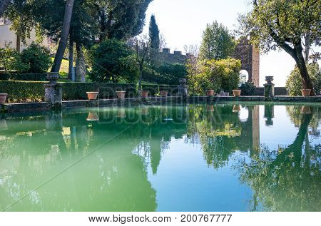 Tivoli , Italy - March 12, 2014: Villa D'Este the Neptune fishpond