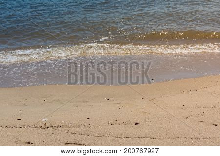 Shoreline Tide Water Moving In Beach Summer Vacation Detail