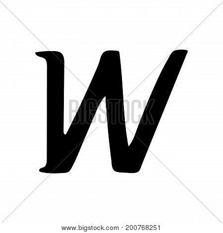 Capital letter W painted by brush isolated on white background