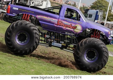 Monster Truck Slingshot In Full Speed Action At Truckfest