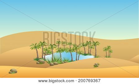 Oasis in desert - landscape background. Vector illustration with sand dunes blue lake and palms