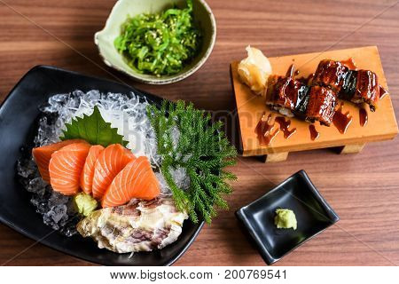 Sashimi An Sushi Japanese Food By Top View