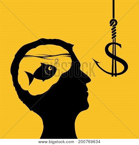 Man looks at a fish hook with bait dollar. Financial business and fraud in the economy. Stock vector illustration.