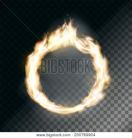Circus Ring On Fire. Texture Of Flame On Transparent Background. Stock  Vector Illustration.