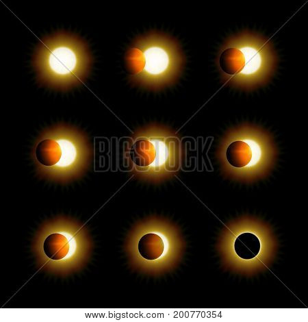 Different phases of solar and lunar eclipse. Realistic vector illustration for your design and business.