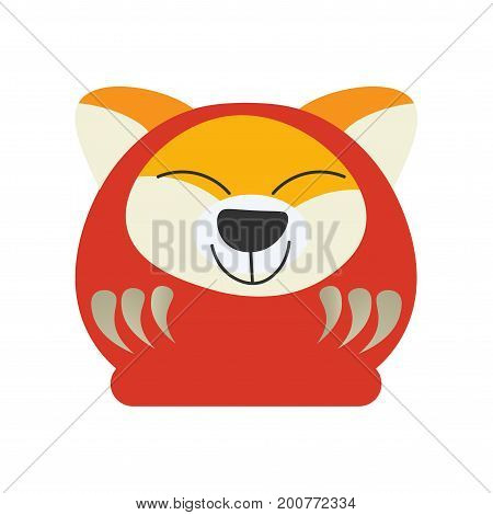 Cute Japanese Traditional Daruma Doll with a dog face. Great as vector illustration for New Year of The Dog. Happy Kawaii Daruma, known also as Dharma made in a cartoon style.