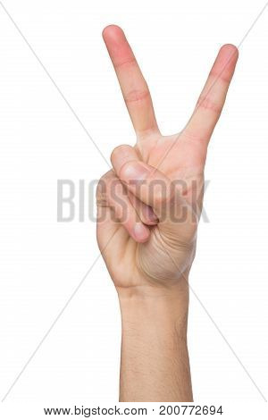 Hand shows number two isolated. Counting gesturing, enumeration, white background.