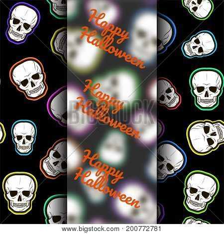 Template for cards, congratulations, leaflets, banners. Seamless pattern with skulls on a black background. Vector illustration