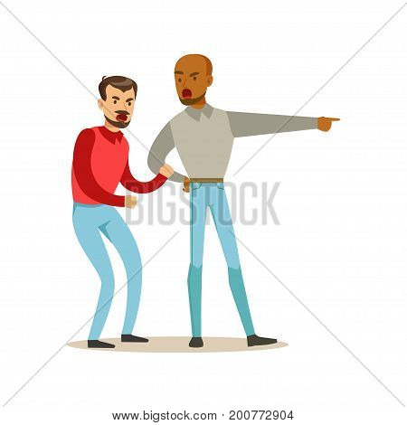 Two annoyed men characters arguing and yelling on each other, negative emotions concept vector Illustration on a white background