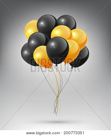 Flying Realistic Glossy black orange Balloon, Halloween concept on white background
