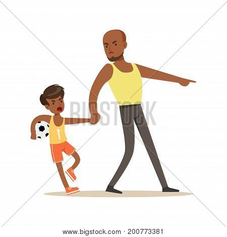 Father yelling at his son, negative emotions concept vector Illustration on a white background