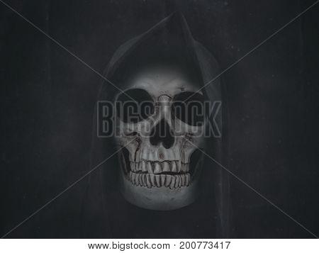 Human Skull In Hood. Halloween Grunge Background