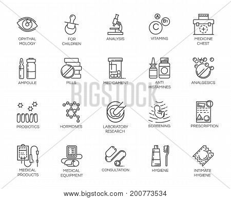 Set of 20 medicine line icons. Pharmaceutics, treatment, research concept contour labels. Graphic pictograph for clinics, hospitals, online apps and websites. Vector image isolated on white background