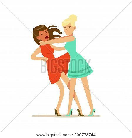 Two young women characters fighting and quarelling, negative emotions concept vector Illustration on a white background