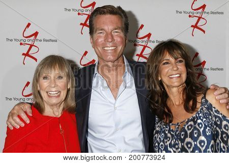 LOS ANGELES - AUG 19:  Marla Adams, Peter Bergman, Jess Walton at the Young and Restless Fan Event 2017 at the Marriott Burbank Convention Center on August 19, 2017 in Burbank, CA