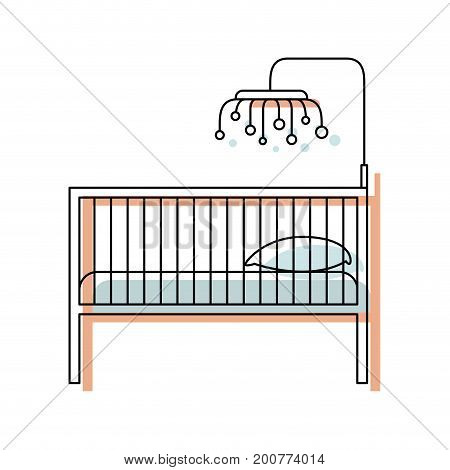 watercolor painted silhouette of baby crib with wood railing vector illustration