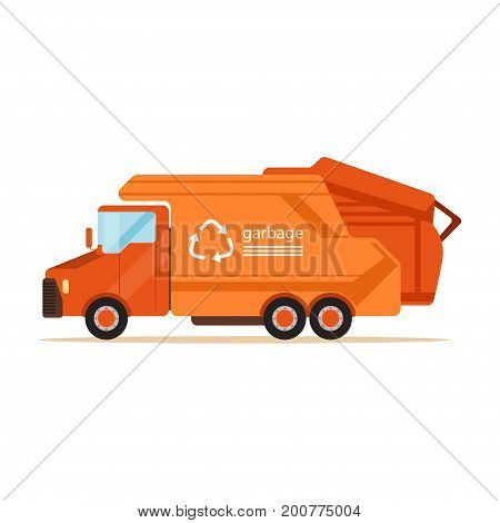 Orange garbage collector truck, waste recycling and utilization concept vector Illustration on a white background