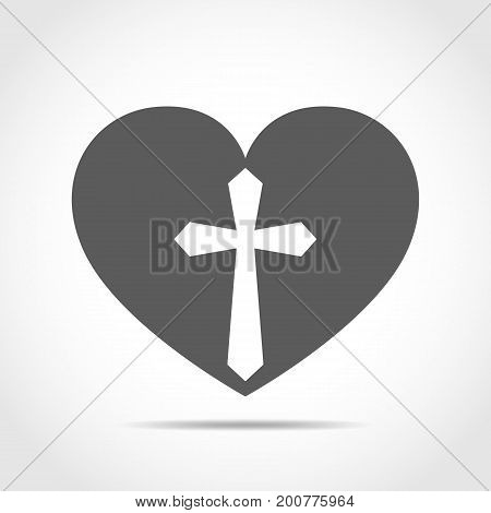 Heart with Christian cross. Gray heart icon isolated on light background. Vector illustration. Christian symbol.