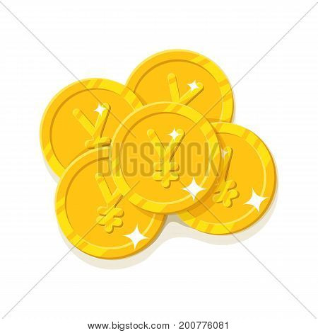 Gold Chinese yuan or Japanese yen coins cartoon style isolated. Five gold coins for designers and illustrators. A few gold pieces in the form of a vector illustration