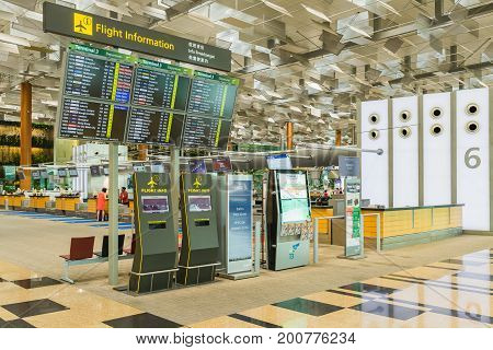 Departure Board In Changi Airport. Departure Hall Singapore
