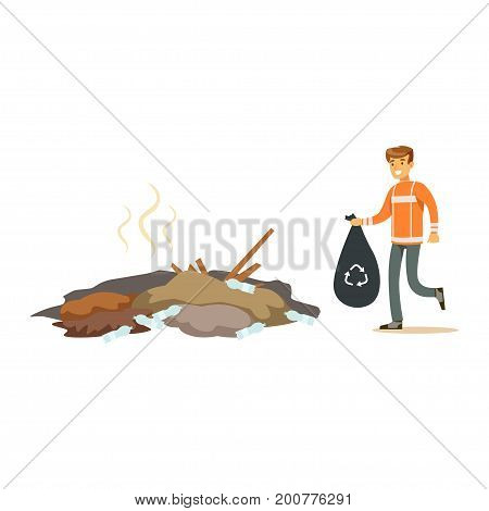 Street cleaner man in a orange uniform holding black bag with garbage , waste recycling and utilization concept vector Illustration on a white background