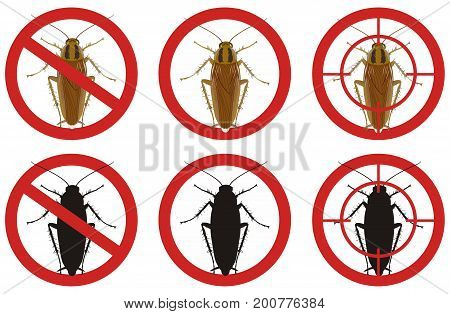 Warning stop signs with colored detailed image of a cockroach and its black silhouette inside a red sign on a white background. Fighting insect pests.