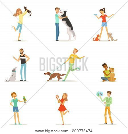 Happy people having fun with pets, man and women training and playing with their pets vector Illustrations on a white background