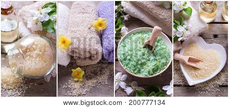 Collage from spa photos. Wellness site header. Cosmetic organic products. Sea salt bottles with aroma oil towels and flowers on vintage wooden background.
