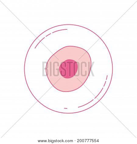 pink silhouette of front view ovum vector illustration
