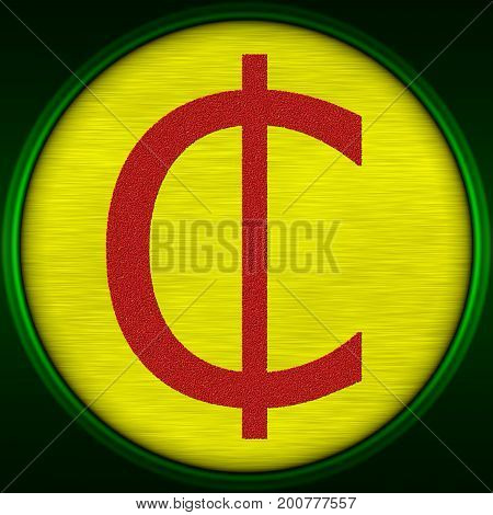 Decorative multicolor 3d illustration with Ghana cedi sign