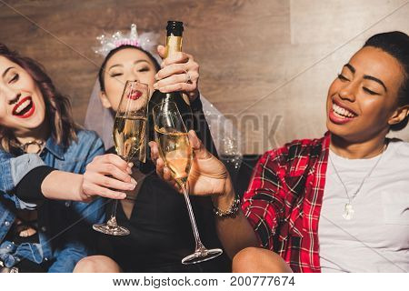 Multicultural Women Having Fun At Hen Party