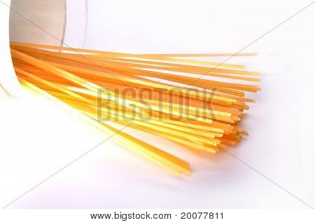 A Lot Of Spaghetti Pasta Isolated On White Background.