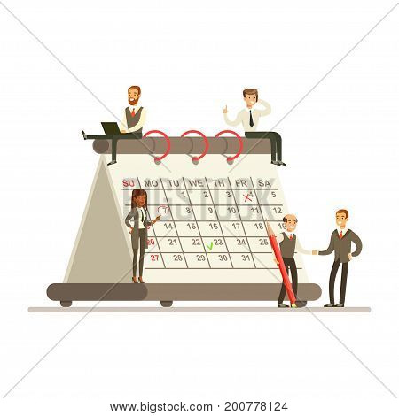 Micro busineswomen and businesmen sitting on a giant paper calendar, business team working together planning and scheduling their operations vector Illustration on a white background
