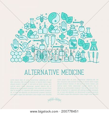Alternative medicine concept in half circle with thin line icons. Vector illustration of banner, print media or web site for yoga, acupuncture, wellness, ayurveda, chinese medicine, holistic center.