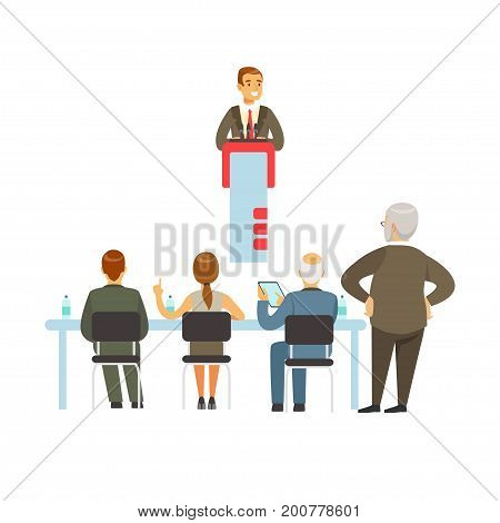 Orator speaking from the tribune, business meeting vector Illustration isolated on a white background